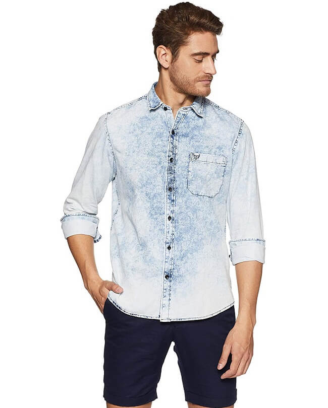 denim shirt combination with jeans