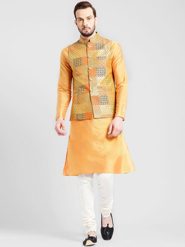 buy kisah men printed lightweight nehru jacket