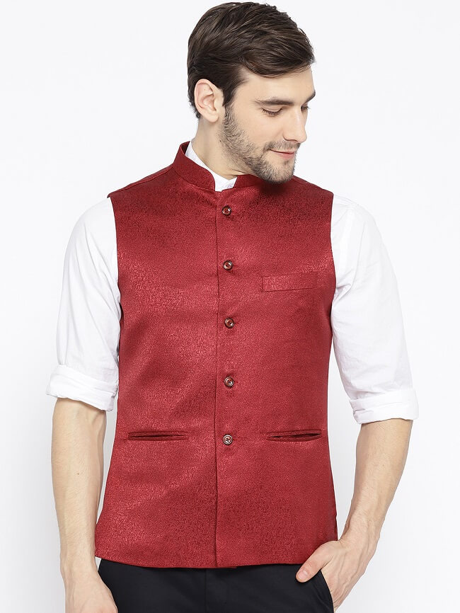 shaftesbury london men's self cotton bandhgala ethnic nehru jacket