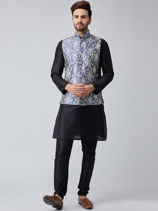 buy sojanya turquoise printed nehru jacket for men online