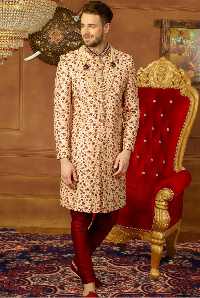 Designer Orange  Men Kurta Pajama  Indian Wedding Shirt  Wear Sherwani  Shawl