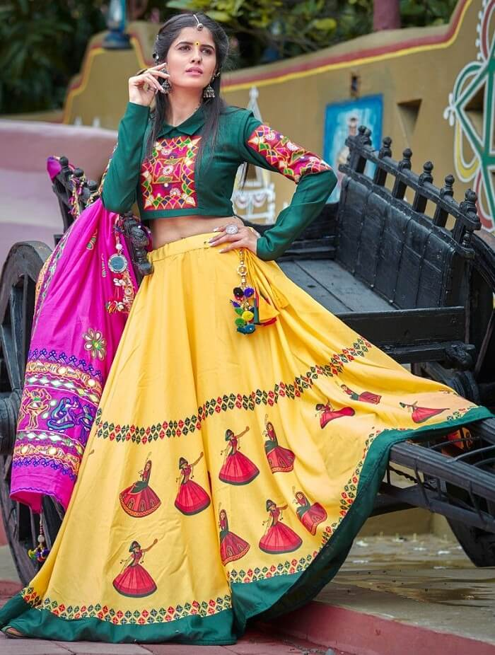 dark green and yellow color chaniya choli gujarati