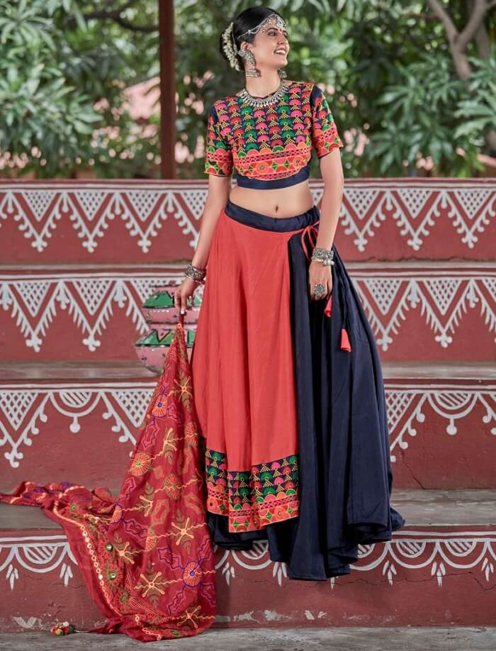 navy blue and orange color traditional chaniya choli for navratri