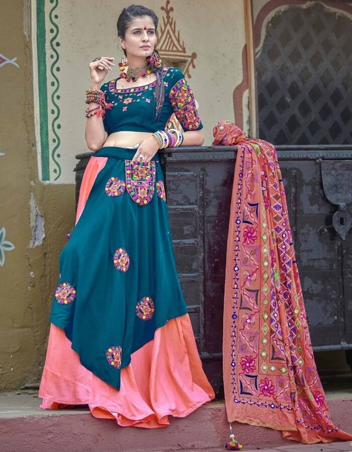 teal blue and pink color navratri special chaniya choli
