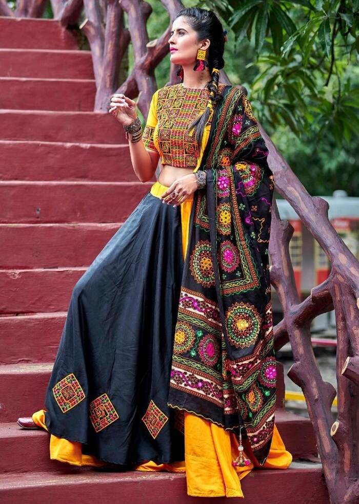 yellow and black color gujarati chaniya choli navratri