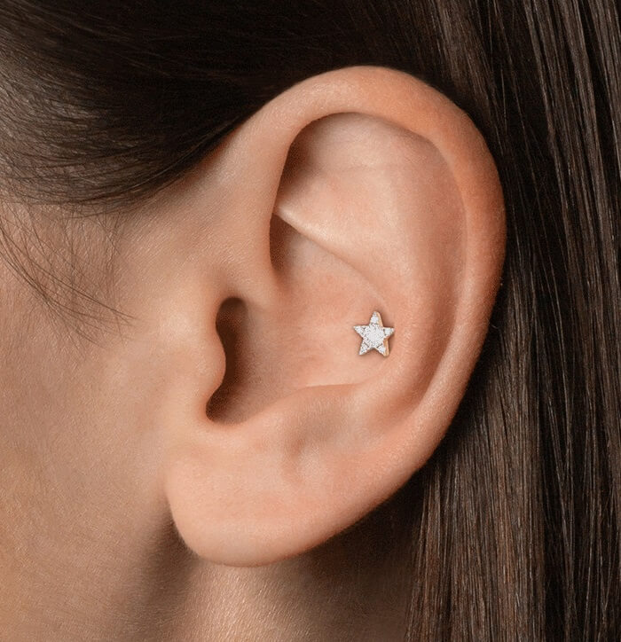 conch piercing with hoop