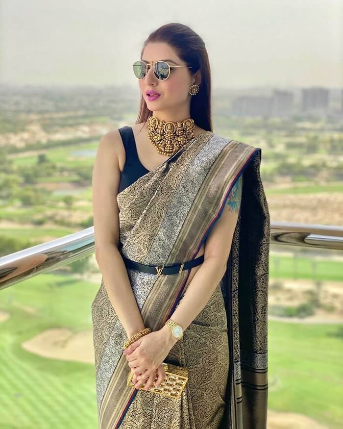 blouse designs with belt for silk saree
