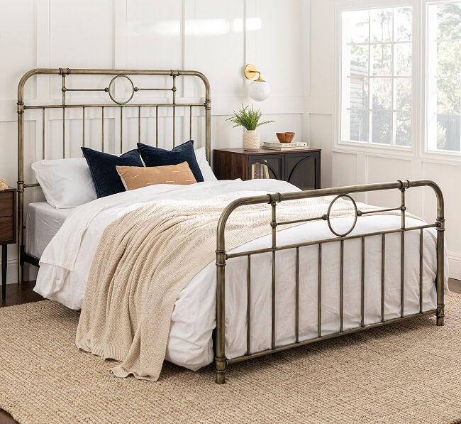 metal frame bed with headboard