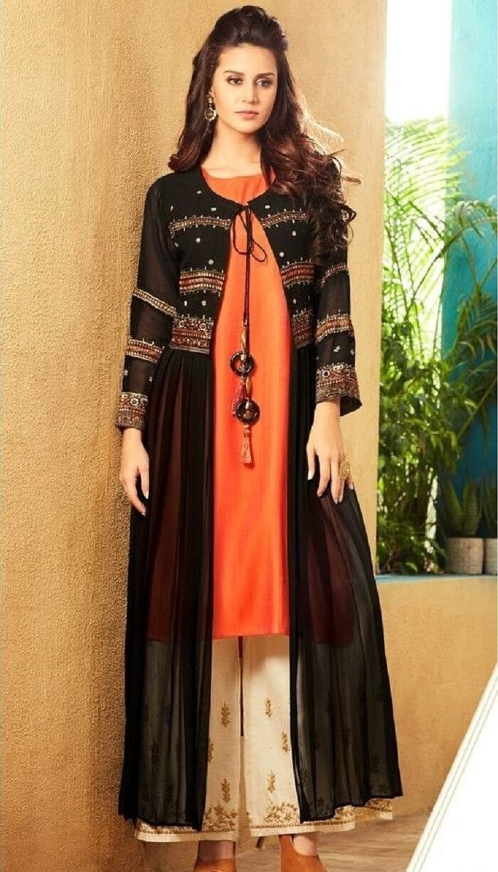 pleated embroiderd jacket with kurti