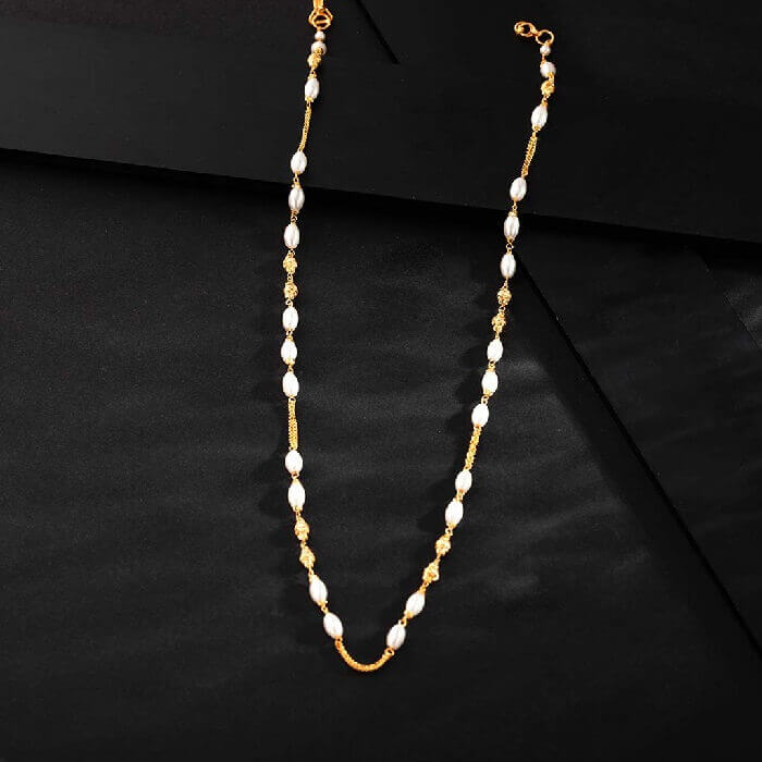 gold necklace design with pearl