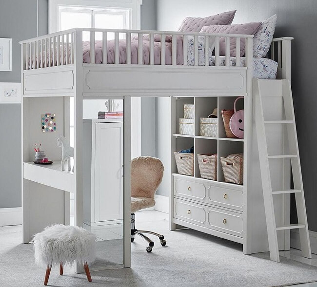 loft bed with study table, loft bed for kids