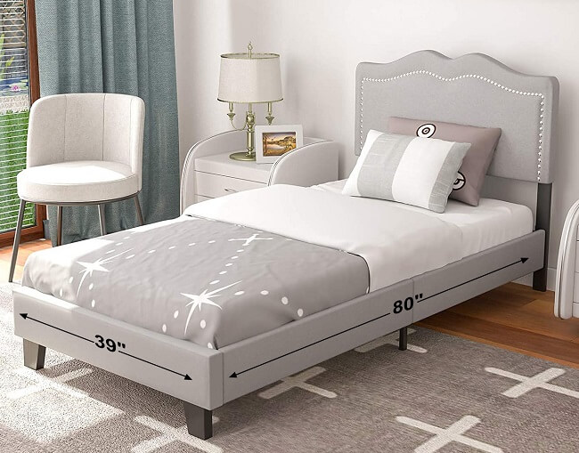 Twin XL bed frame with bookcase headboard