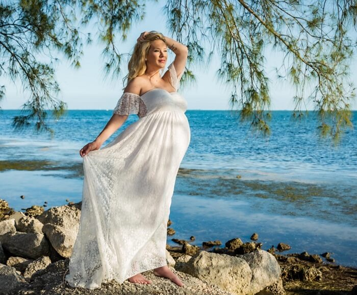 Off Shoulder Maternity Dress for Photography