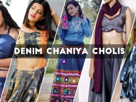 9 Latest Denim Chaniya Cholis For Navratri 2018 by Gujarati Designer