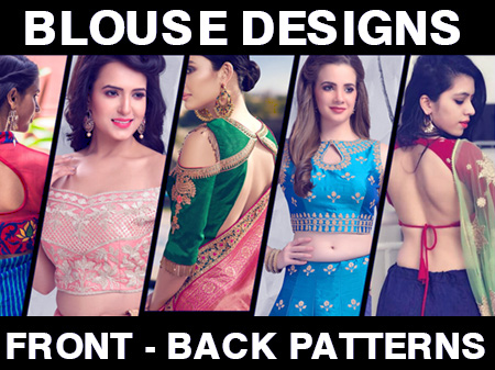 44 Types of Saree Blouses Front & Back Neck Designs
